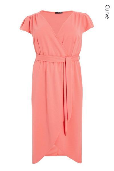 Curve Coral Wrap Midi Dress